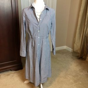J Crew Blue & White Striped Shirtdress Sz 10